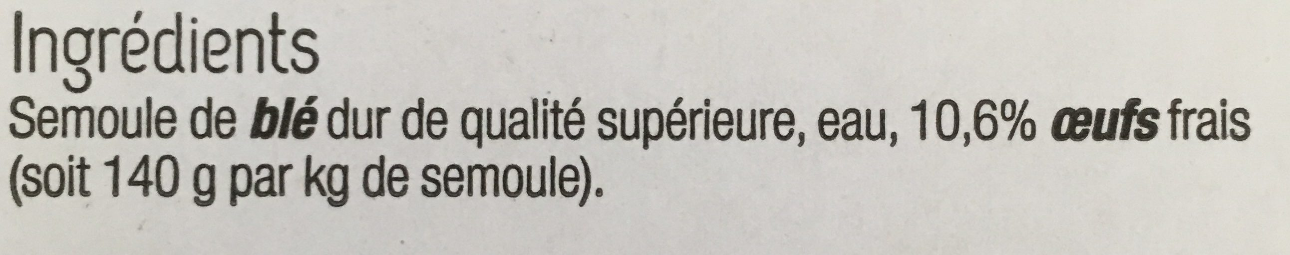 Pâtes Fraîches - Ingrédients