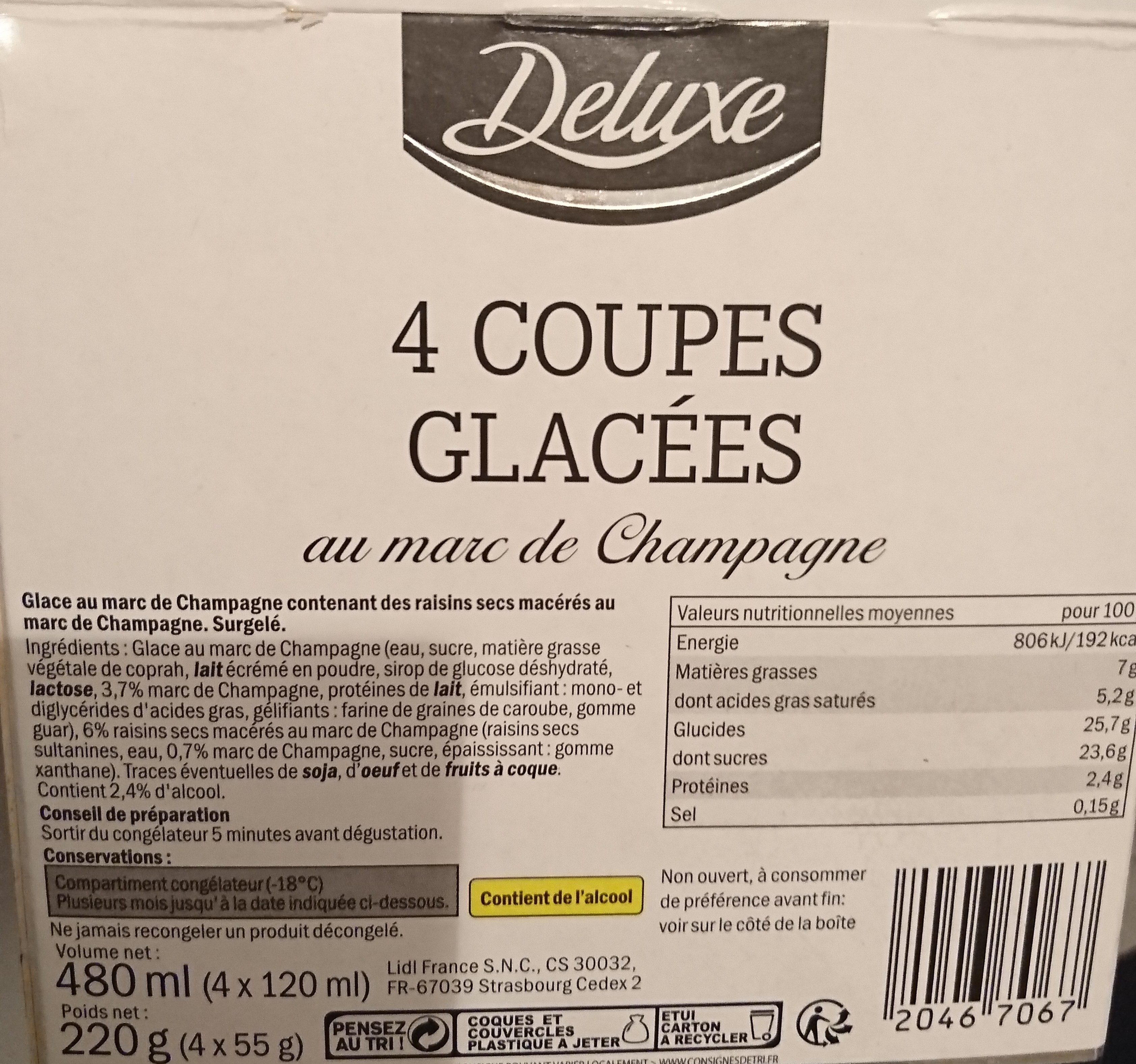 Coupe glacé - Ingredients