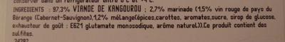 2 pavés de kangourou marinés au vin rouge et épices Deluxe - Ingrédients - fr