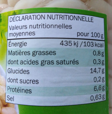 Haricots Blancs - Informations nutritionnelles