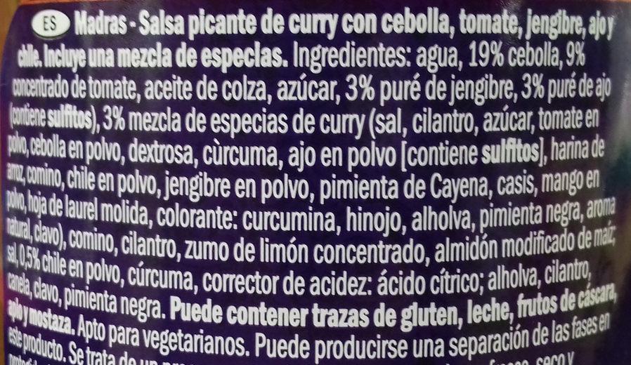 Salsa de curry Madrás - Ingredients - es