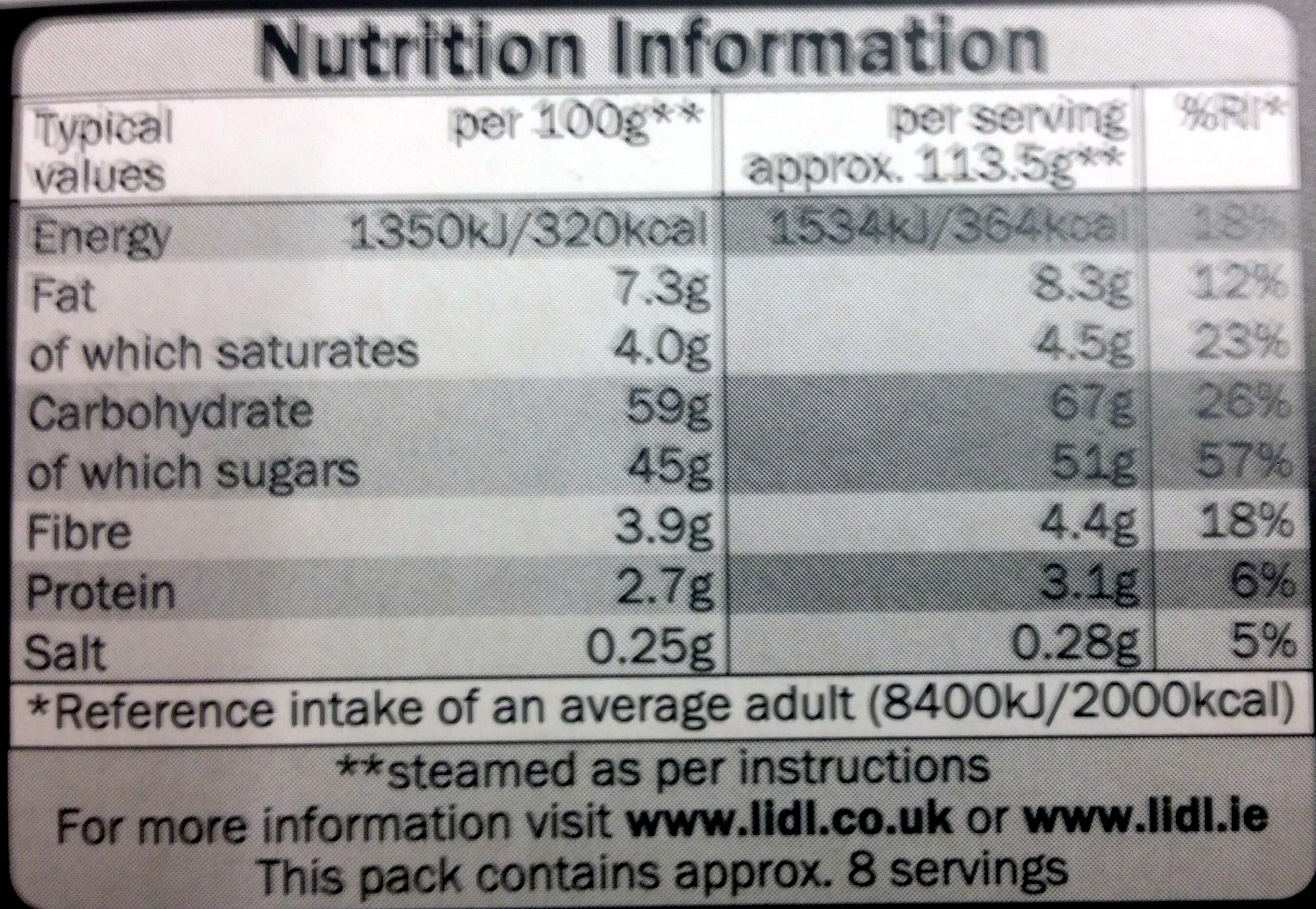 Luxury cherry & pecan topped christmas pudding - Nutrition facts