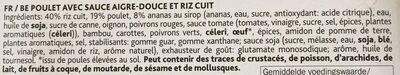 Poulet aigredoux - Ingrédients