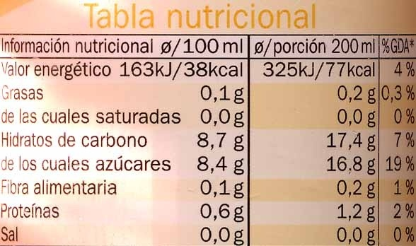 """Zumo de mandarina exprimida refrigerado """"Vitafit"""" - Información nutricional - es"""