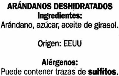 Arándanos deshidratados - Ingrédients