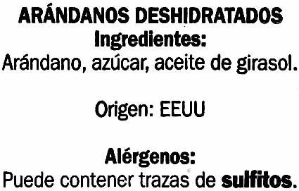 Arándanos deshidratados - Ingrédients - es