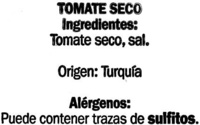 Tomate seco - Ingredientes