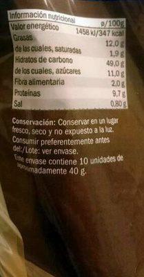 Pan de leche - Voedingswaarden - es
