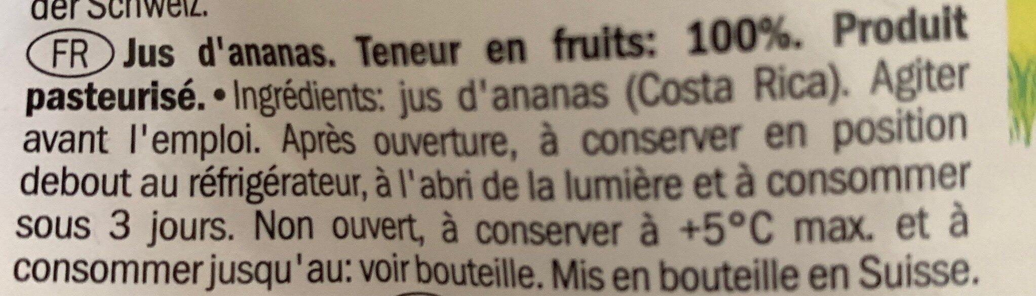 Jus d'ananas - Ingrédients - fr