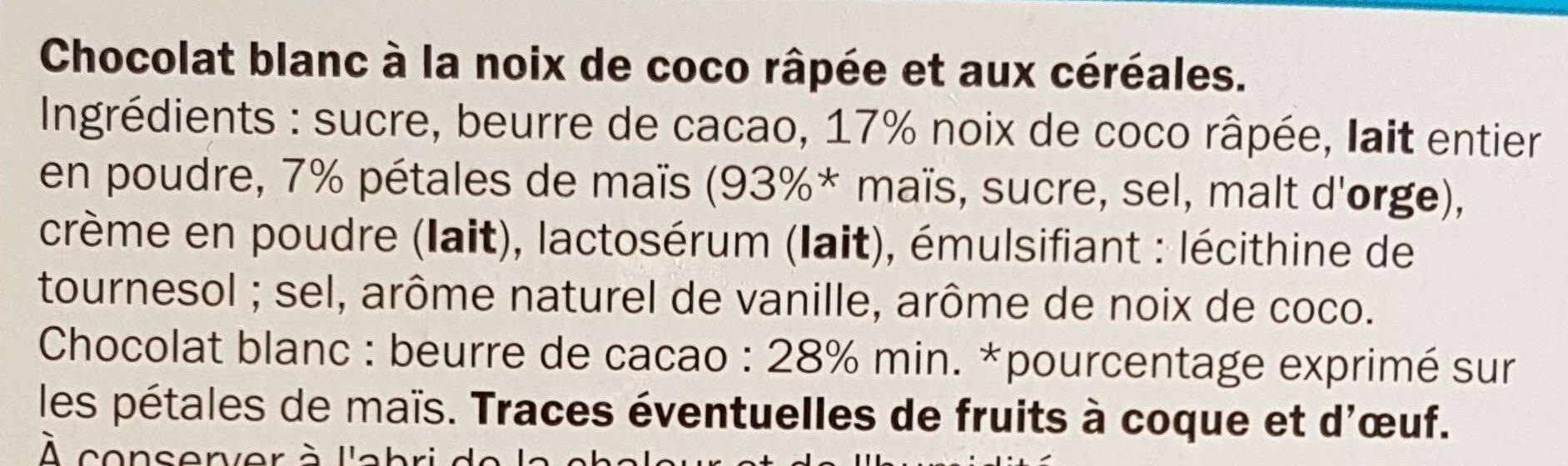 Blanc Noix de coco & céréales - Ingredients - fr