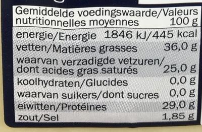 Piave Vecchio DOP (36% MG) - Informations nutritionnelles