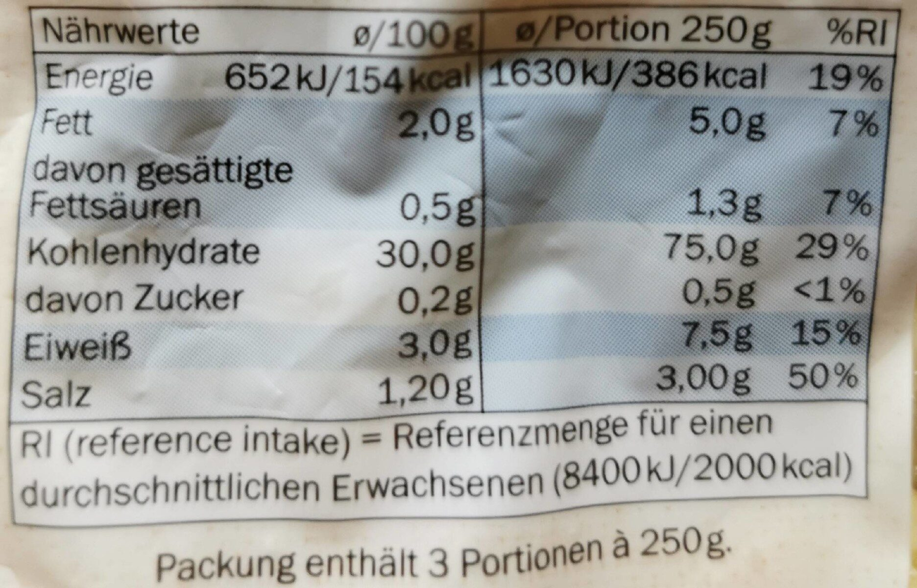 Gnocchi - Valori nutrizionali - fr