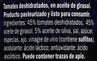 Pomodori secchi in olio di girasole - Ingredientes - es