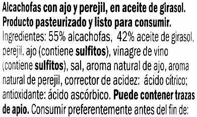 Carciofi in olio di girasole - Ingredientes - es