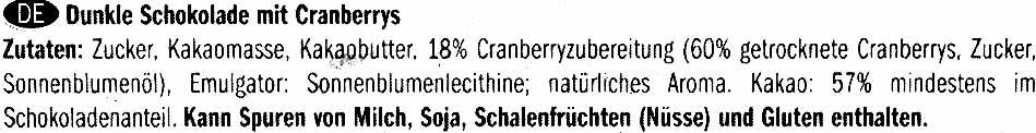Dark chocolate Cranberry 57% cocoa - Ingredients - de