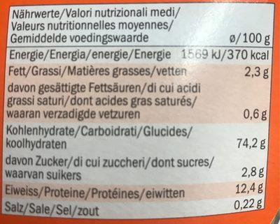 Halloween pasta tricolore - Voedingswaarden