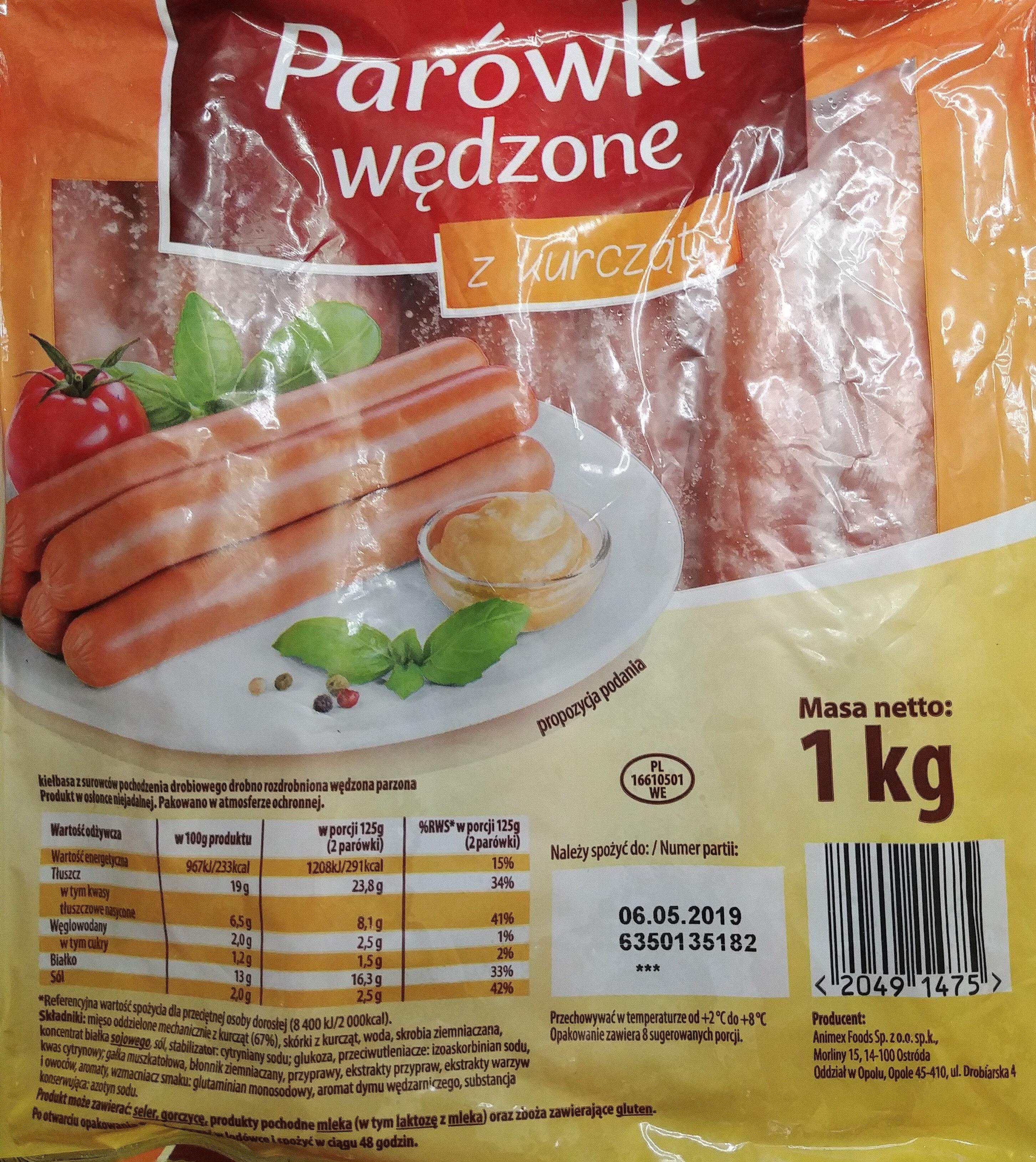 Parówki wędzone z kurcząt - Animex Food - 1 kg
