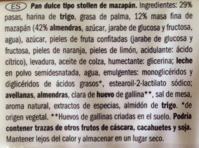 Stollen Finest Marzipan - Ingredientes