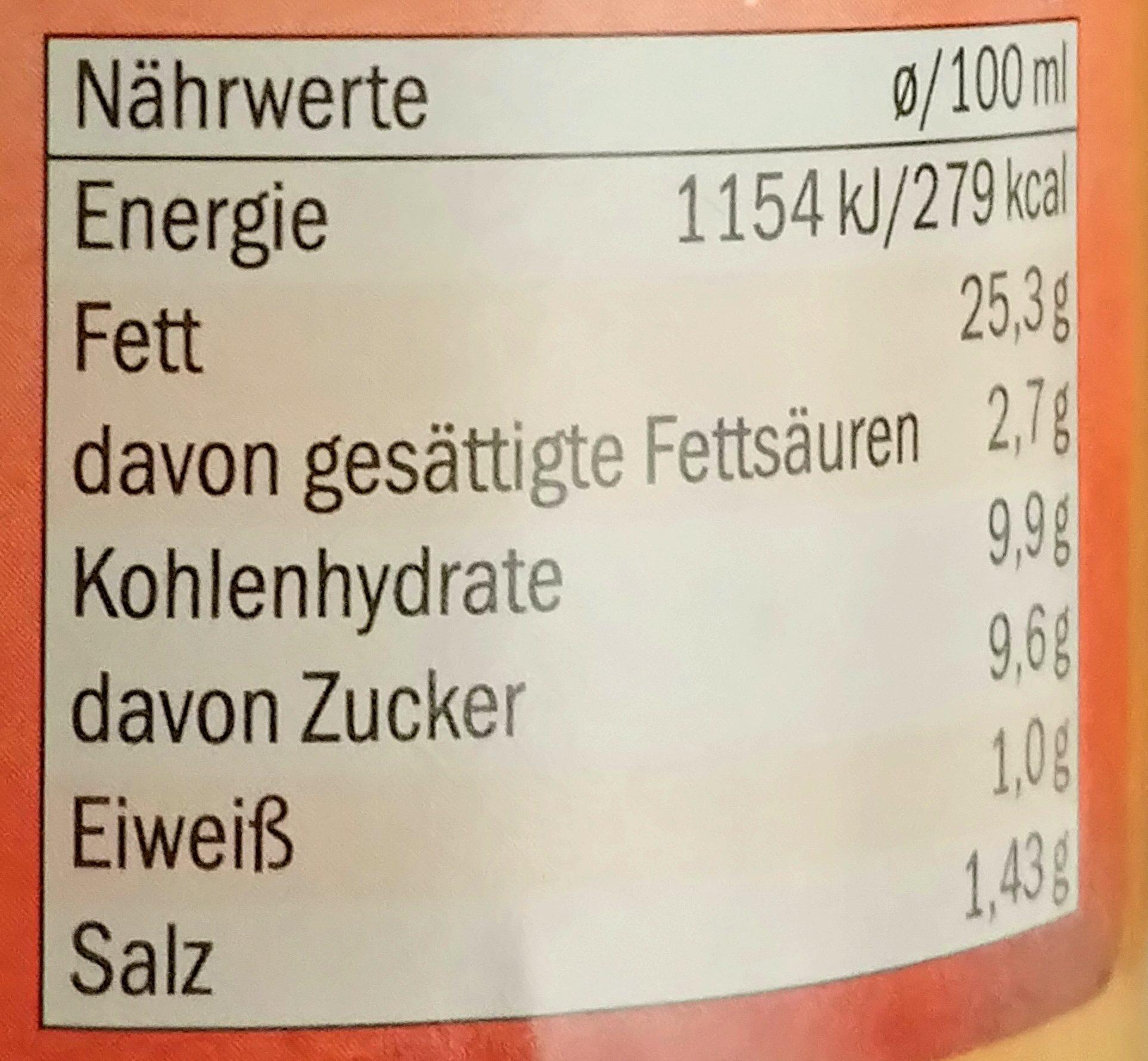 Cocktail sauce - Informations nutritionnelles - de