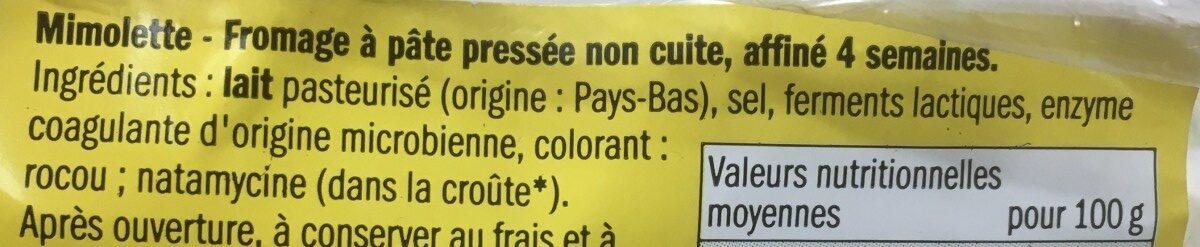 Mimolette jeune affinée 4 semaines - Ingrédients - fr