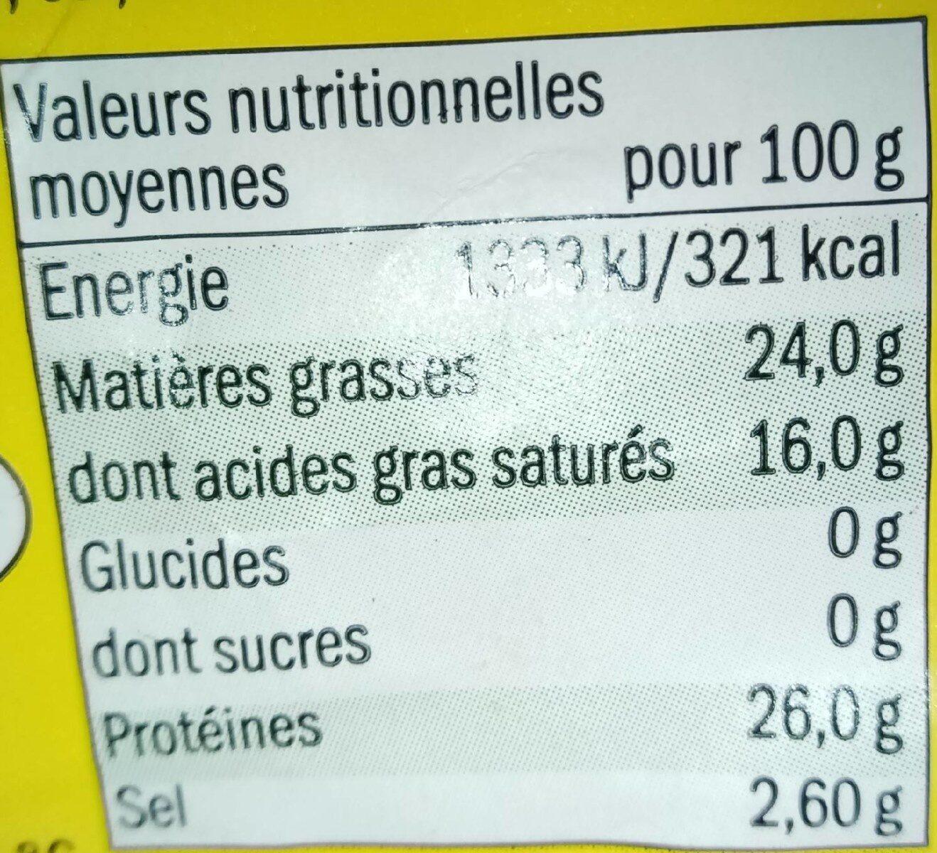 Mimolette jeune affinée 4 semaines - Informations nutritionnelles - fr