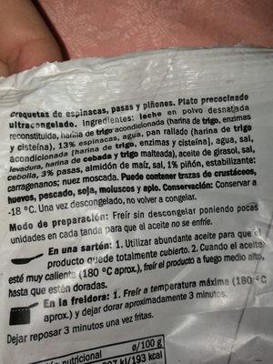 caprichos espinacas, pasas y piñones - Ingredients