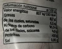 caprichos espinacas, pasas y piñones - Informació nutricional
