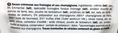 sauce fromage et champignons - Ingredients - fr
