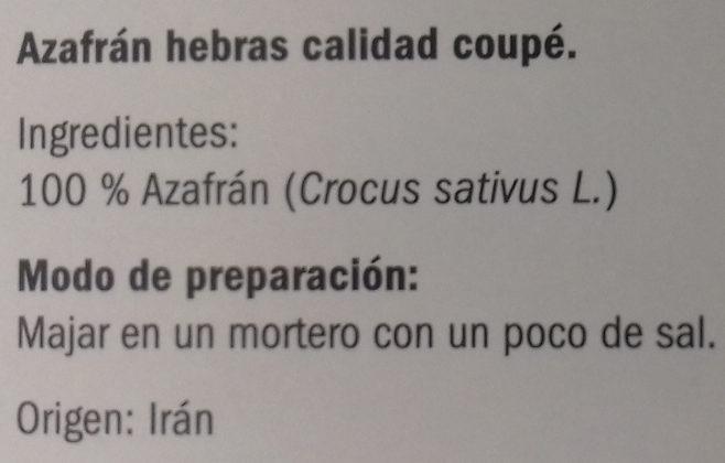 Azafran - Ingrediënten - es