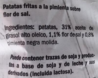 Patatas fritas - Pimienta negra sobre flor de sal - Ingrediënten