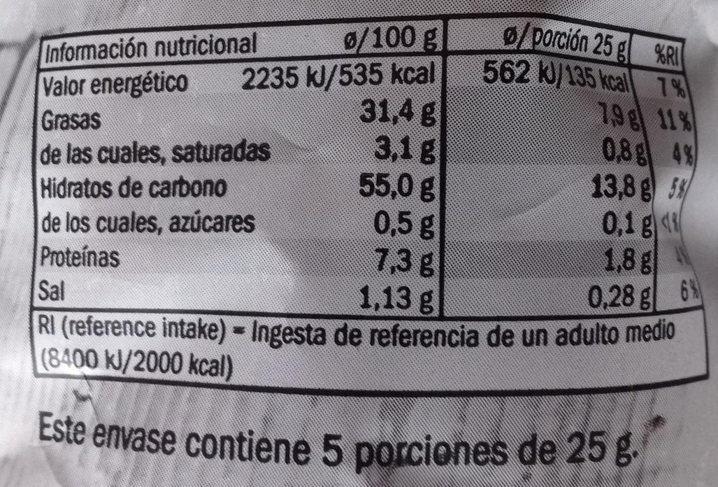 Patatas fritas - Pimienta negra sobre flor de sal - Voedingswaarden