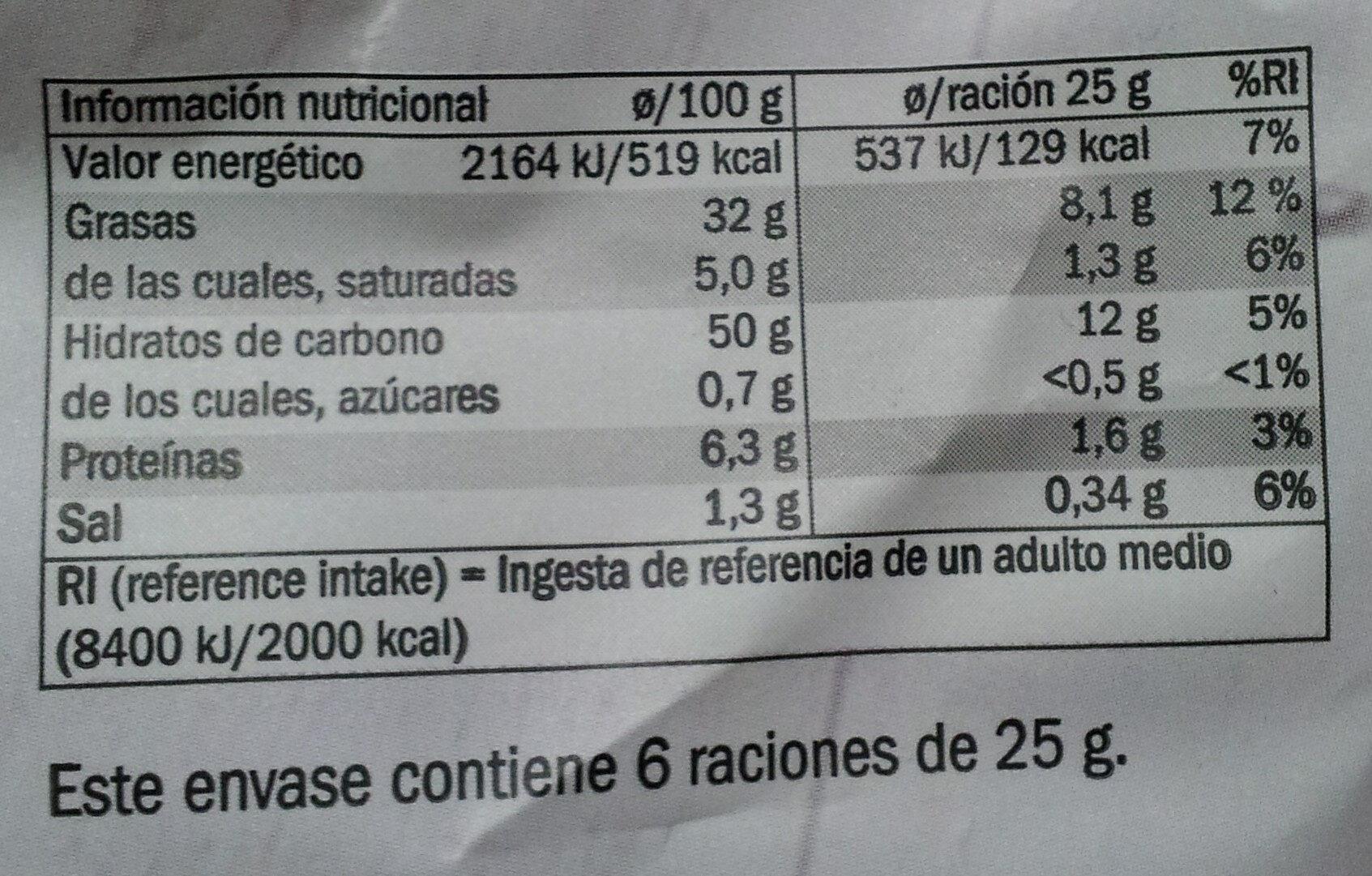Patatas Fritas Pimienta Negra sobre Flor de Sal - Información nutricional - es