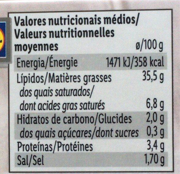 Truffe d'asie rapee - Información nutricional - es