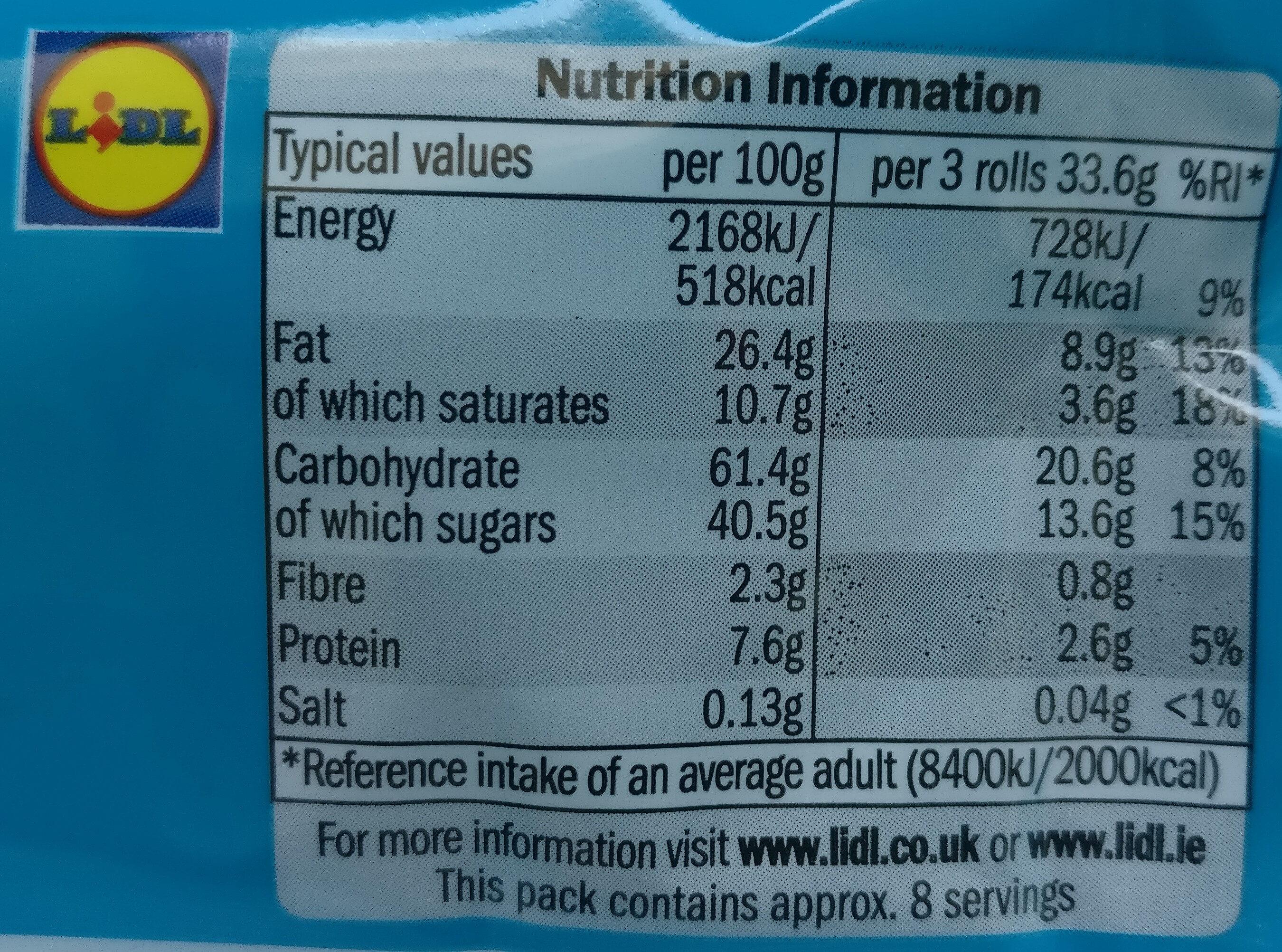 Wafer Rolls - Chocolate Creme - Výživové údaje - en