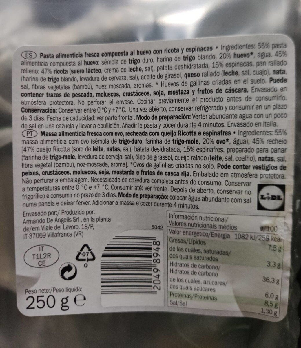 Totelloni ricotta y espinacas - Informations nutritionnelles - fr