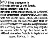 Funghi alla Pizzaiola - Informations nutritionnelles