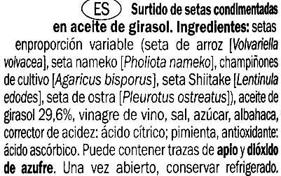 Mezcla de setas condimentadas en conserva - Ingredientes