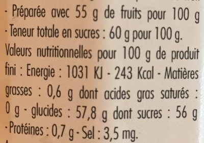 Confiture Extra Mûre - Nutrition facts
