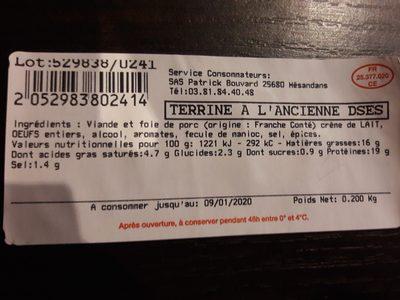 Terrine à l'ancienne - Ingrédients - fr