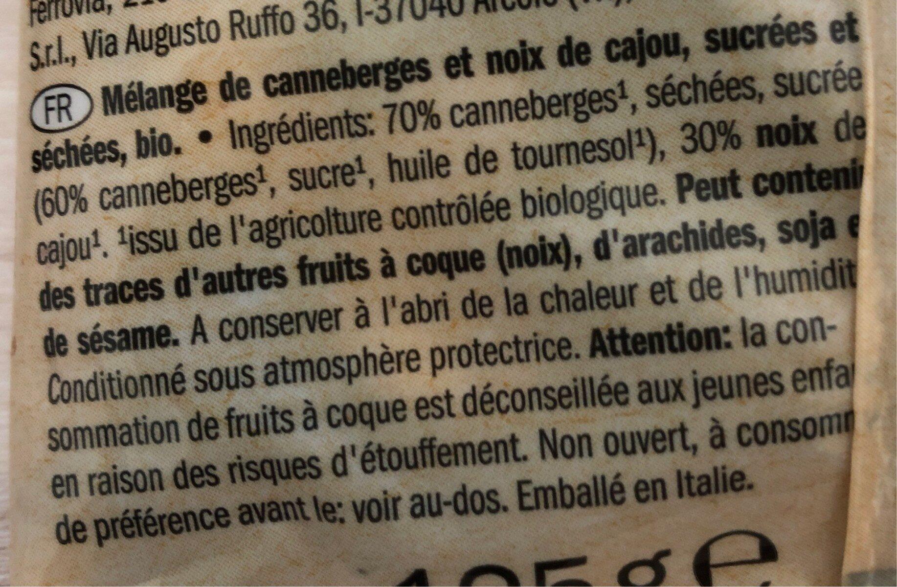 Bio Cramberries séchées et sucrées - Ingredienti - fr