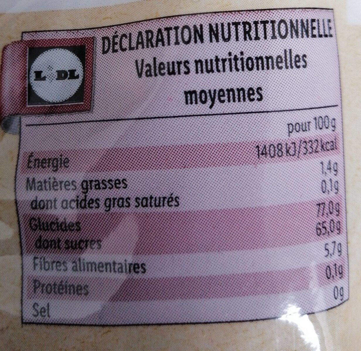 Bio Cramberries séchées et sucrées - Valori nutrizionali - fr