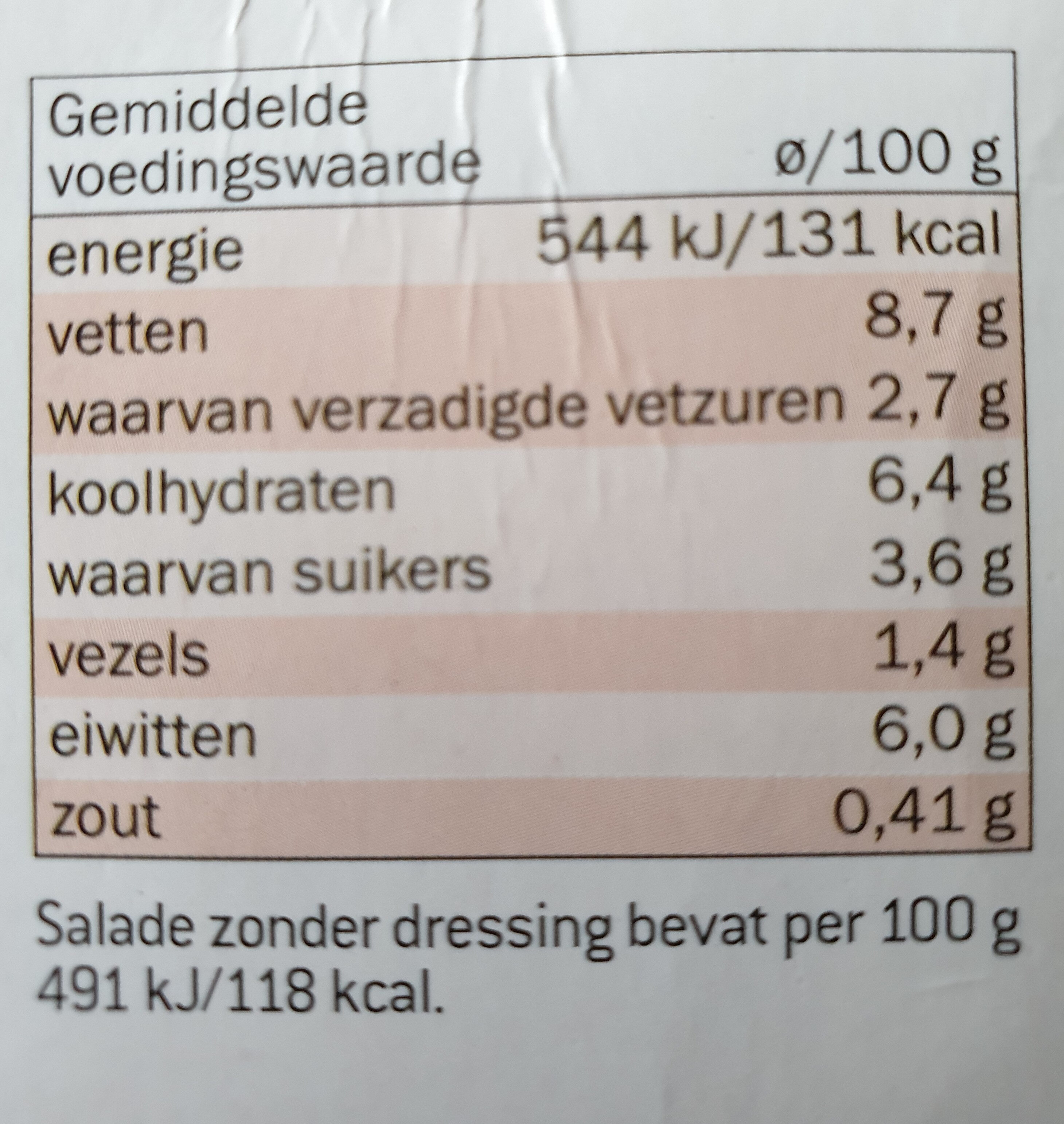 Complete Italiaanse salade - Nutrition facts