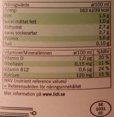 Ängens Laktosfri svensk mellanmjölkdryck - Nutrition facts