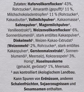 Bio Knuspermüsli Amaranth Schoko - Ingredients