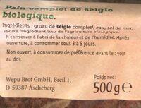 Bio pain complet de seigle - Produit - fr