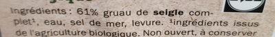 Bio pain complet de seigle - Ingrédients - fr