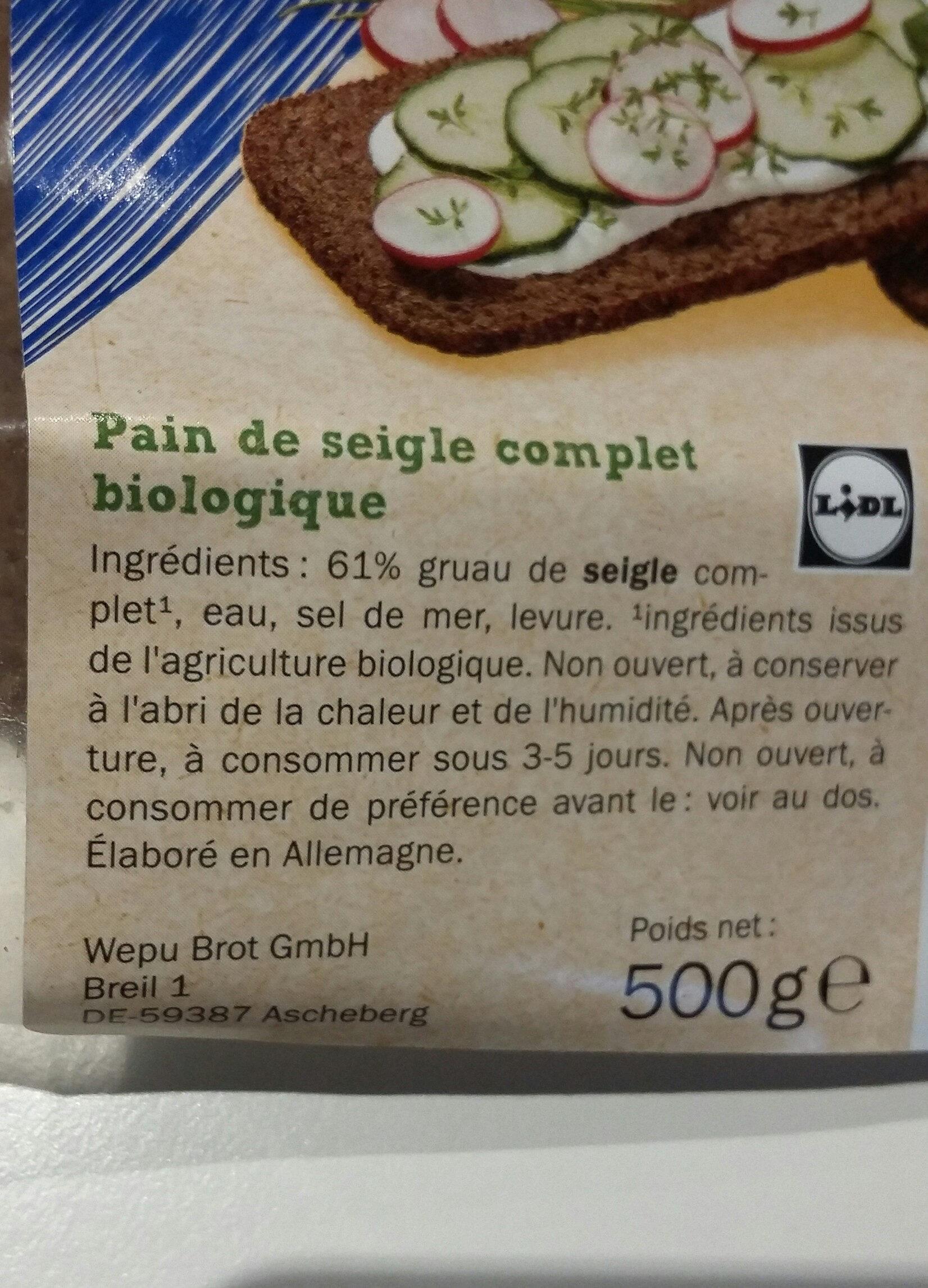 Pain de seigle complet BIO - Información nutricional - fr