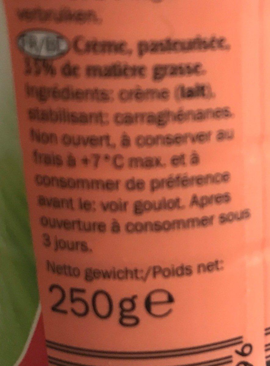 Crème fraiche Fouettable - Ingrédients - fr