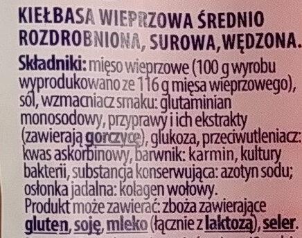Frankfurterki wędzone - Ingrédients - pl