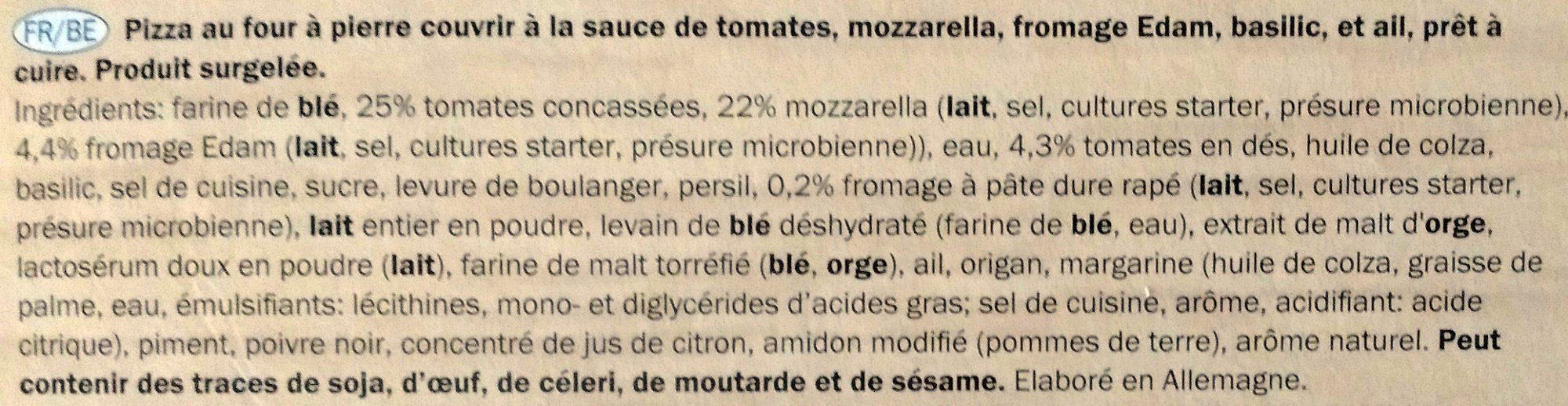 Pizza au four à pierre couvrir à la sauce de tomates - Ingrédients - fr